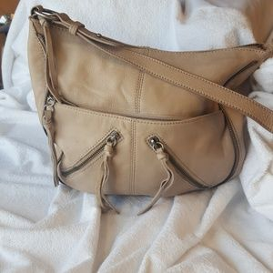 the sak boho bag, 100% leather body, beige/tan
